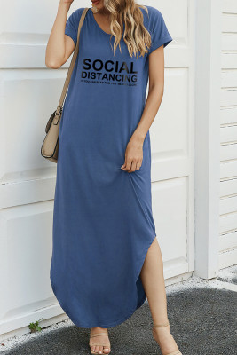 Blue Letter Print Dress with Slit