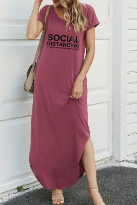 Cameo Brown Letter Print Dress with Slit