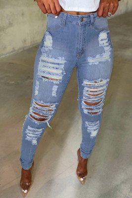 Light Blue Cut Out Distressed Ripped Pockets Denim High Waisted Long Jeans
