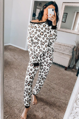 Leopard Print Long Sleeve Joggers Lounge Set