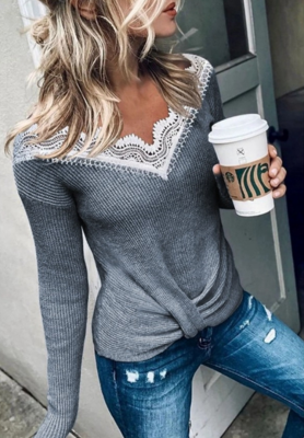 Twisted Lace Neck Top