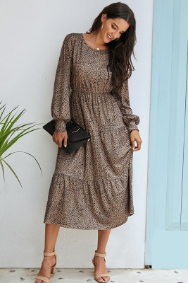 Grey Puff Sleeve Polka Dot Maxi Dress