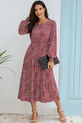 Wine Red Puff Sleeve Polka Dot Maxi Dress