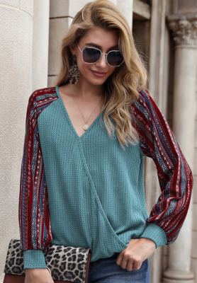 Print Sleeve V Neck Top