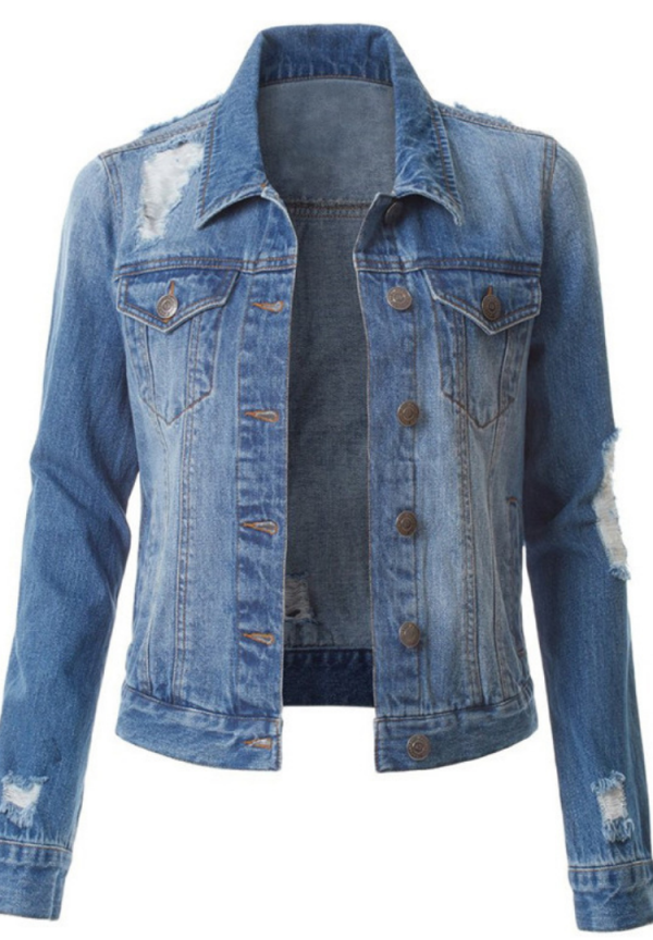 Solid Denim Ripped Jacket
