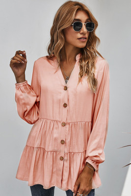 Pink Solid V-neck Button Shirt