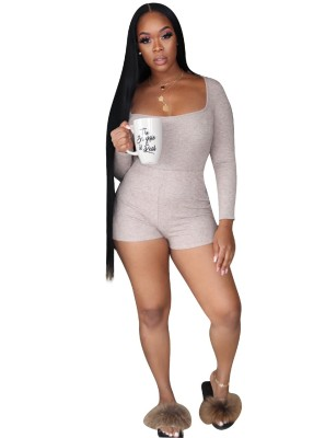 Solid Fit Short One Piece Jumpsuit