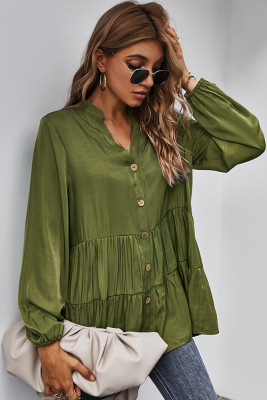 Green Solid V-neck Button Shirt