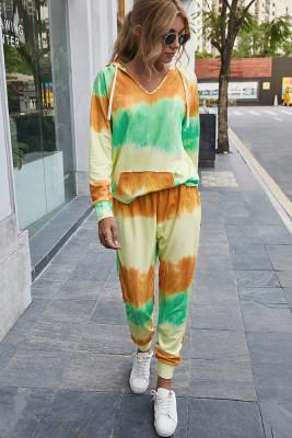Orange Tie Dye Two Piece Set Outfits