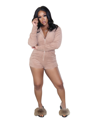 Solid Homewear Jumpsuits with Hood