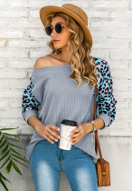 Leopard Sleeve Waffle Knitted Top