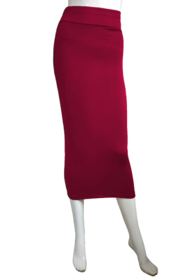 Solid High Waist Bodycon Skirt
