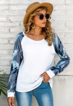 Camouflage Sleeve Waffle Knitted Top