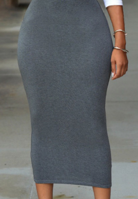 Solid High Waist Bodycon Skirt