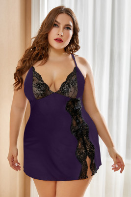 Purple Lace Stitching Plus Size Babydoll