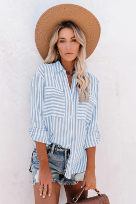 Sky Blue Cotton Striped Button Shirt