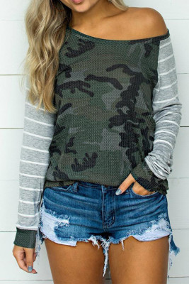 Camo Striped Splicing Casual Blouse