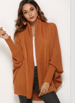 Red Coffee Batwing Sleeve Waffle Knit Sweater Cardigan
