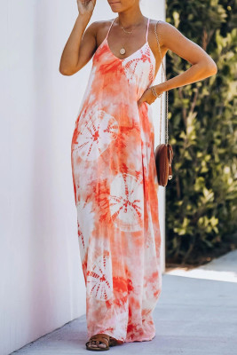 Orange Tie-dye Drape Maxi Dress