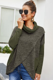Army Green Loose Knit Top with Pocket