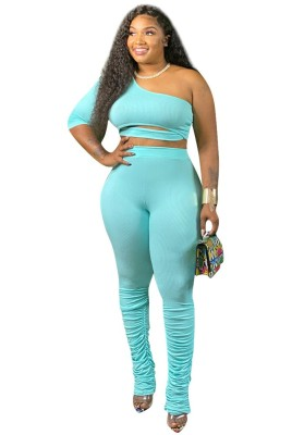 One Sleeve Stacked Pants Set Outfits