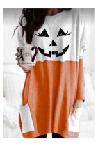 Halloween Pumpkin Loose Top with Pockets