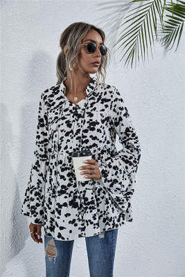 Cow Pattern Flare Sleeve Blouse