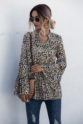 Leopard Flare Sleeve Blouse