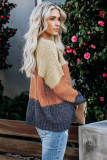 Brown Color Block Netted Texture Pullover Sweater