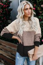 Black Color Block Netted Texture Pullover Sweater