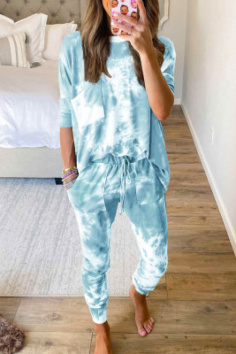 Sky Blue Tie-dye Loungewear Set