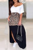 Colorblock Leopard Split Dresses