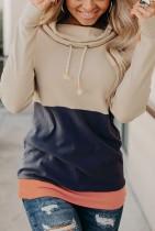 Colorblock Cowl Neck Pullover Sweatshirts