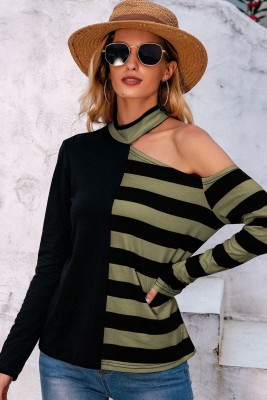 Cord Shoulder Striped Loose Top