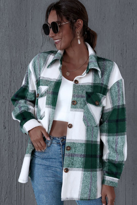 Green Thick Plaid Coat with Pocket