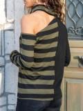 Cord Shoulder Striped Loose Top