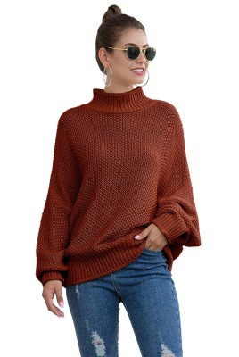 Solid Knitted High Neck Loose Sweaters
