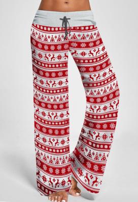 Red Casual Elk Print Drawstring Wide Leg Palazzo Lounge Pants