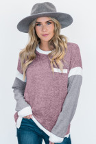 Splicing Sleeve Pink Knit Top