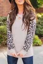 Apricot Crisscross V Neck Leopard Sleeve Blouse