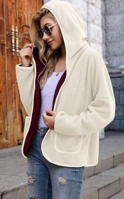 Solid Hooded Fluffy Coat with Pockets