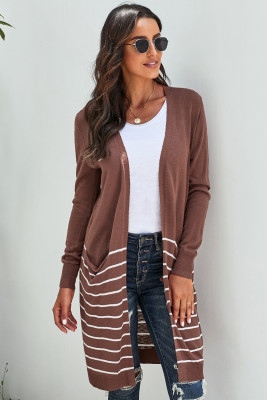 Brown Open Front Long Sleeve Striped Cardigan