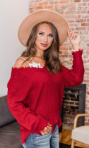 Irregular Design Tassel Knit Sweater