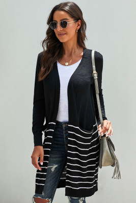 Black Open Front Long Sleeve Striped Cardigan