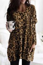 Brown Leopard Print Long Sleeve Casual Top