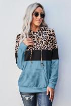 Blue Leopard Tie Dye Colorblock Hoodie