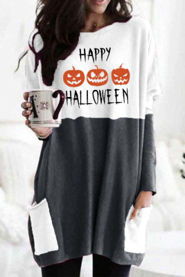 Gray HAPPY HALLOWEEN Scary Pumpkin Face Print Contrast Tunic Top