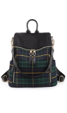 Plaid Backpack Handbag