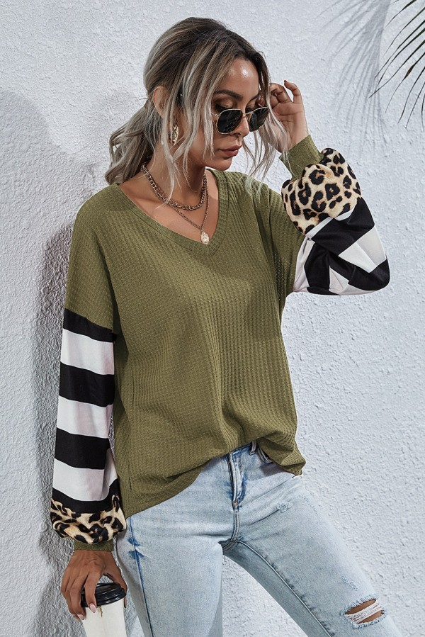 Striped Leopard Sleeve Waffle Knitted Top