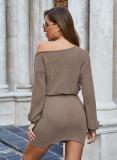 Solid Slash Neck Dresses